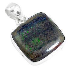 12.18cts natural black honduran matrix opal 925 sterling silver pendant p46646