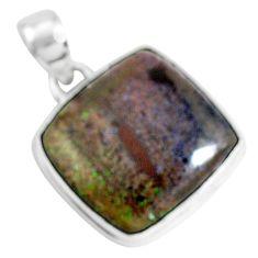 13.67cts natural black honduran matrix opal 925 sterling silver pendant p46647