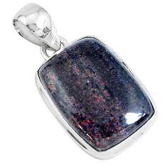 11.73cts natural black honduran matrix opal 925 sterling silver pendant p46657
