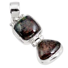 10.29cts natural black honduran matrix opal 925 sterling silver pendant p86802