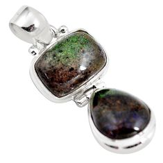 11.55cts natural black honduran matrix opal 925 sterling silver pendant p86804