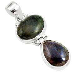 11.04cts natural black honduran matrix opal 925 sterling silver pendant p86805