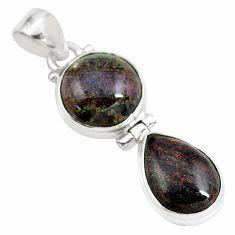 11.07cts natural black honduran matrix opal 925 sterling silver pendant p86808