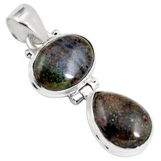 11.04cts natural black honduran matrix opal 925 sterling silver pendant p86811