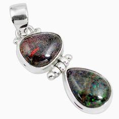 10.76cts natural black honduran matrix opal 925 sterling silver pendant p86817