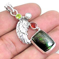 Natural black honduran matrix opal garnet 925 silver feather pendant p43116