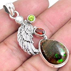Natural black honduran matrix opal garnet 925 silver feather pendant p46754