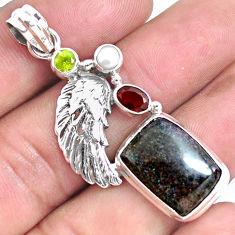 Natural black honduran matrix opal garnet 925 silver feather pendant p46755