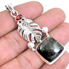19.99cts natural black honduran matrix opal garnet 925 silver pendant p43114