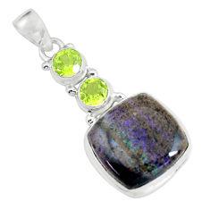 Clearance Sale- 19.72cts natural black honduran matrix opal peridot 925 silver pendant d31916