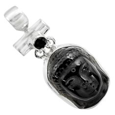 18.15cts natural black onyx 925 sterling silver buddha charm pendant p84481