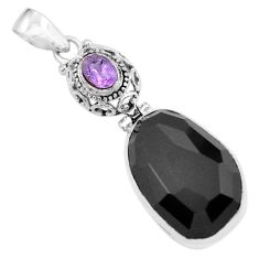 22.59cts natural black onyx amethyst 925 sterling silver pendant jewelry p59371