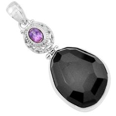 30.40cts natural black onyx amethyst 925 sterling silver pendant jewelry p59374