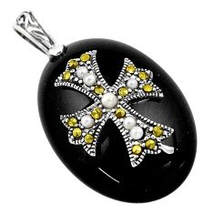 17.08cts natural black onyx marcasite pearl 925 sterling silver pendant c3126
