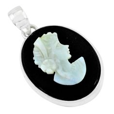 Natural black opal cameo on black onyx 925 silver lady face pendant p49848