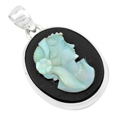 Natural black opal cameo on black onyx 925 silver lady face pendant p49858