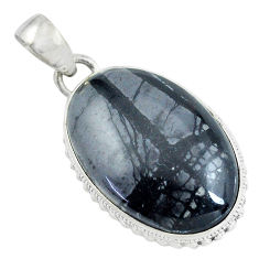 19.20cts natural black picasso jasper 925 sterling silver pendant jewelry d31837