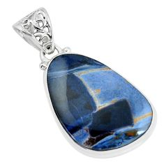 17.57cts natural black pietersite (african) 925 sterling silver pendant d31877
