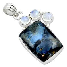 19.07cts natural black pietersite (african) moonstone 925 silver pendant p84585