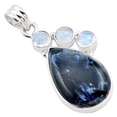15.08cts natural black pietersite (african) moonstone 925 silver pendant p84588
