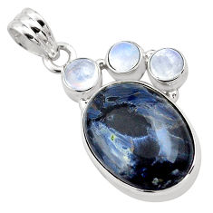 16.70cts natural black pietersite (african) moonstone 925 silver pendant p84592