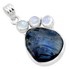 16.70cts natural black pietersite (african) moonstone 925 silver pendant p84598