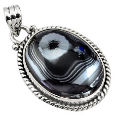 16.85cts natural black psilomelane (crown of silver) 925 silver pendant p85003