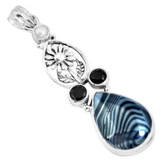 18.98cts natural black psilomelane white pearl 925 silver flower pendant p49517