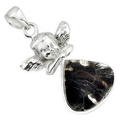 12.64cts natural black shungite 925 silver cupid angel wings pendant p79381