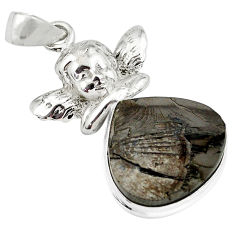 15.97cts natural black shungite 925 silver cupid angel wings pendant p79394