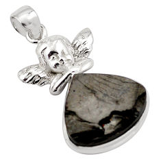 17.20cts natural black shungite 925 silver cupid angel wings pendant p88657