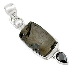 13.87cts natural black shungite onyx 925 sterling silver pendant jewelry p79564