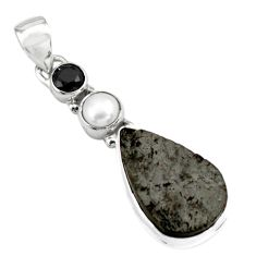 13.55cts natural black shungite onyx pearl 925 silver pendant jewelry p79415