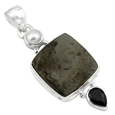 12.06cts natural black shungite onyx pearl 925 sterling silver pendant p79401