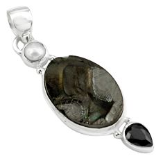 13.70cts natural black shungite onyx pearl 925 sterling silver pendant p79402