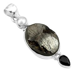 14.45cts natural black shungite onyx pearl 925 sterling silver pendant p79403
