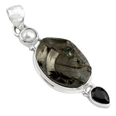 13.66cts natural black shungite onyx pearl 925 sterling silver pendant p79405