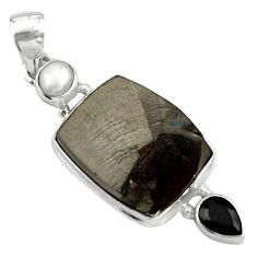 15.02cts natural black shungite onyx pearl 925 sterling silver pendant p79427