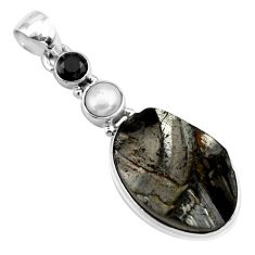 14.47cts natural black shungite onyx pearl 925 sterling silver pendant p79429