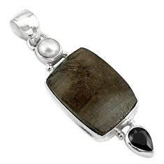 14.47cts natural black shungite onyx pearl 925 sterling silver pendant p79430