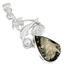 14.90cts natural black shungite pearl 925 sterling silver dolphin pendant p79385