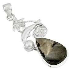 13.24cts natural black shungite pearl 925 sterling silver dolphin pendant p79398