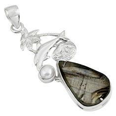 14.72cts natural black shungite pearl 925 sterling silver dolphin pendant p79400