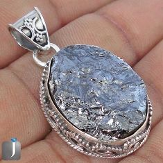 20.84cts NATURAL BLACK SILICON GEMSTONE 925 STERLING SILVER PENDANT G10862