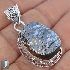 20.42cts NATURAL BLACK SILICON GEMSTONE 925 STERLING SILVER PENDANT G10867