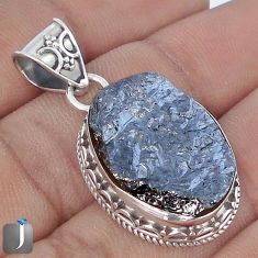 17.20cts NATURAL BLACK SILICON GEMSTONE 925 STERLING SILVER PENDANT G10875