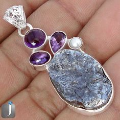 18.57cts NATURAL BLACK SILICON GEMSTONE AMETHYST 925 SILVER PENDANT G10889