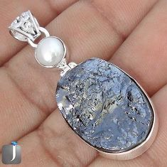 20.15cts NATURAL BLACK SILICON GEMSTONE PEARL 925 STERLING SILVER PENDANT G10882