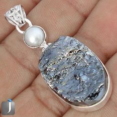 23.68cts NATURAL BLACK SILICON GEMSTONE PEARL 925 STERLING SILVER PENDANT G10888