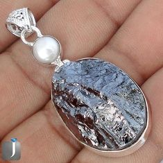 28.10cts NATURAL BLACK SILICON GEMSTONE PEARL 925 STERLING SILVER PENDANT G10890